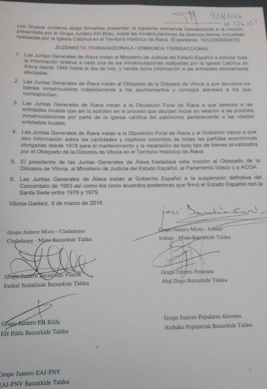 mocion inmatriculaciones juntas generales de araba 2016
