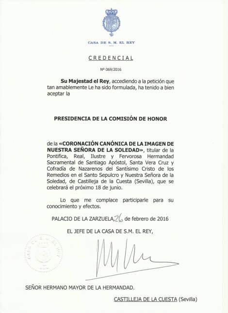 rey preesidente honor coronacion virgen Castilleja Sevilla 2016