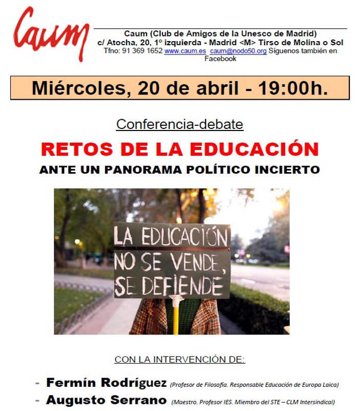 cartel acto CAUM retos educacion 2016