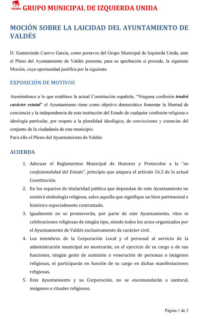 mocion-laicidad-1 IU Valdes