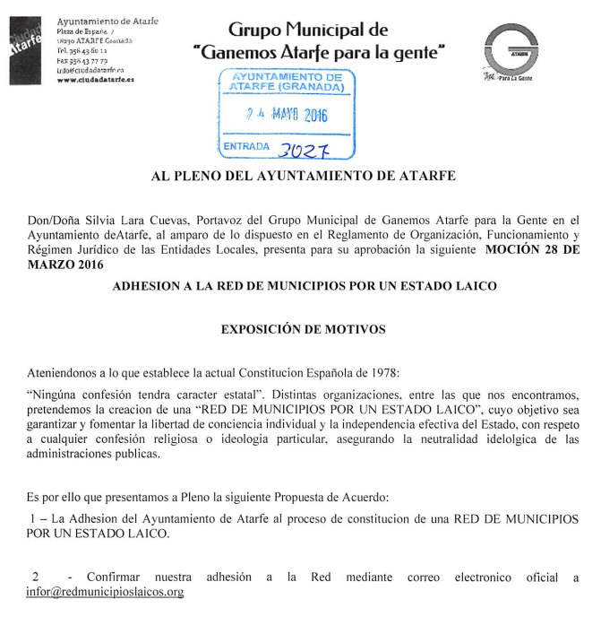Mocion Red Municipios Atarfe