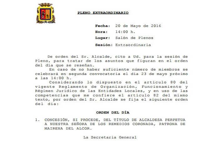 Pleno Mairena Alcor alcaldesa perpetua 2016