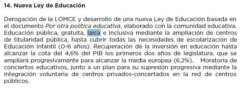 progrma IU Podemos 2016 escuela laica