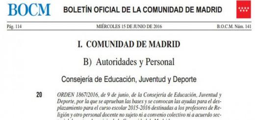 Orden Comunidad de Madrid ayuda desplazamiento profesores religion 2016