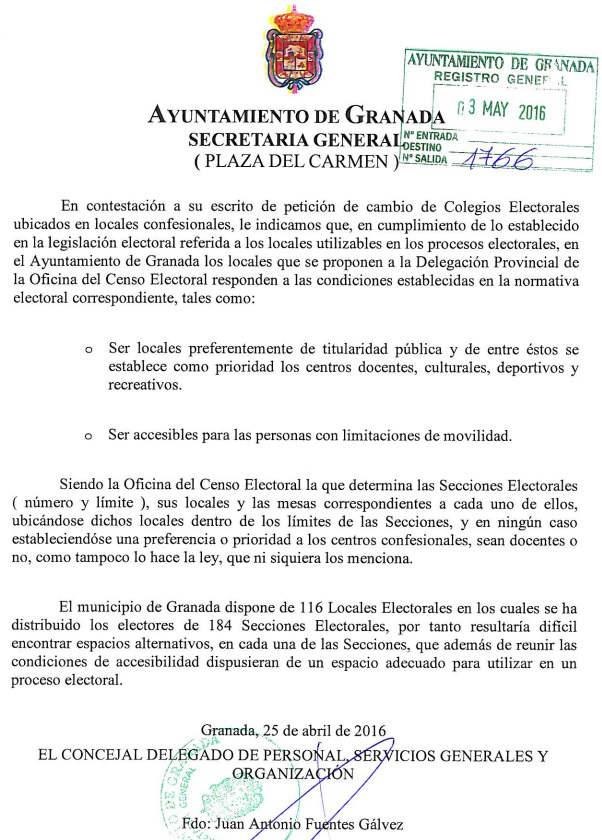 Respuesta Ayuntamiento Granada cambio Colegios Electorales 2016