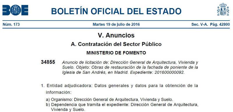 BOE licitacion obras restauracion igleisa san andres Madrid 2016