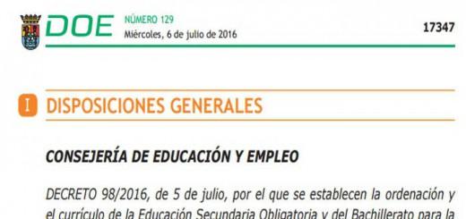 Decreto ESO y Bachillerato en Extremadura 2016