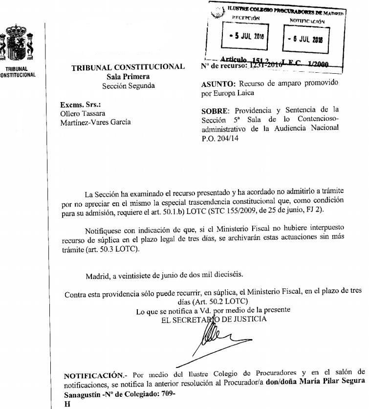 T Constitucional no admite recurso medalla virgen del amor 2016