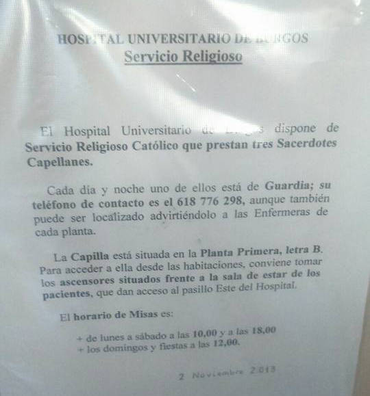 servicio religioso hospital Burgos