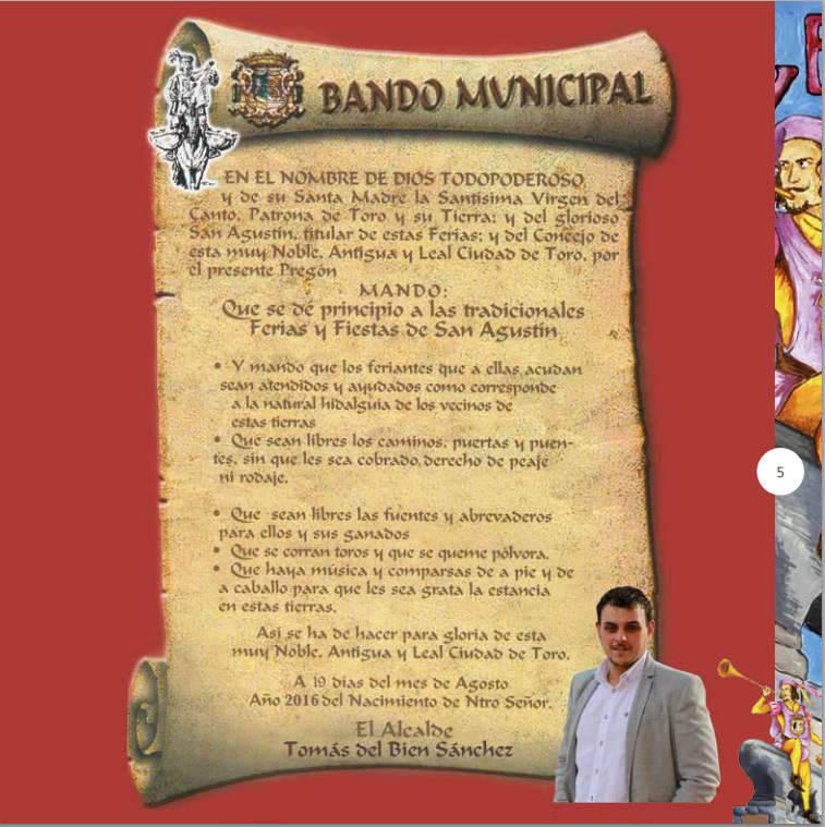 Bando alcalde Toro Zamora