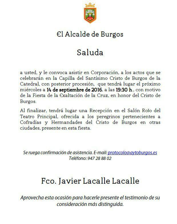 alcalde de Burgos invita acto religioso 2016