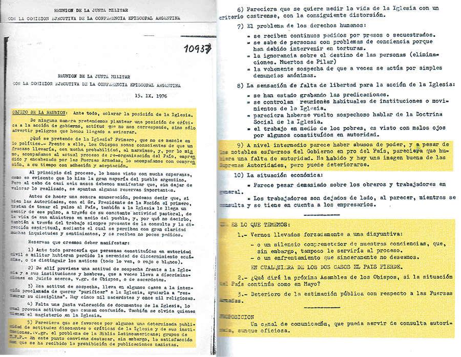 Encomios eclesiásticos a la Junta Militar, censurados por Bergoglio en la recopilación de documentos.