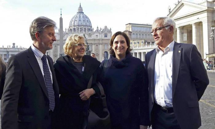 carmena-colau-ribo-y-santisteve-alcaldes-en-vaticano-2016