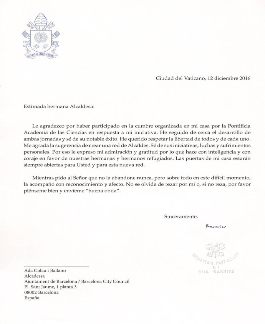 carta-bergoglio-ada-colau-2016