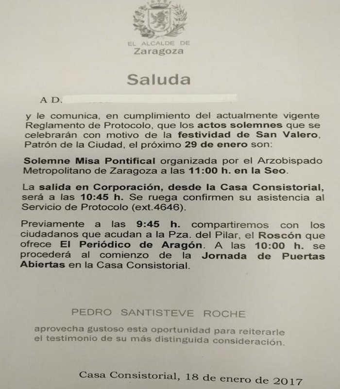 Saluda San Valero Zaragos 2017