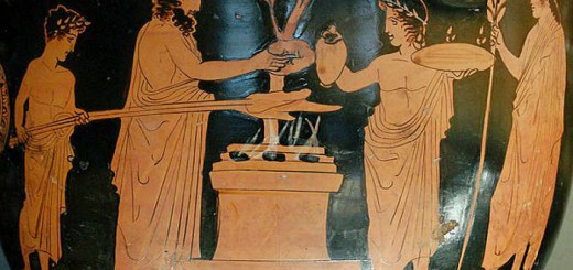 sacrificio cratera de Pothos Grecia