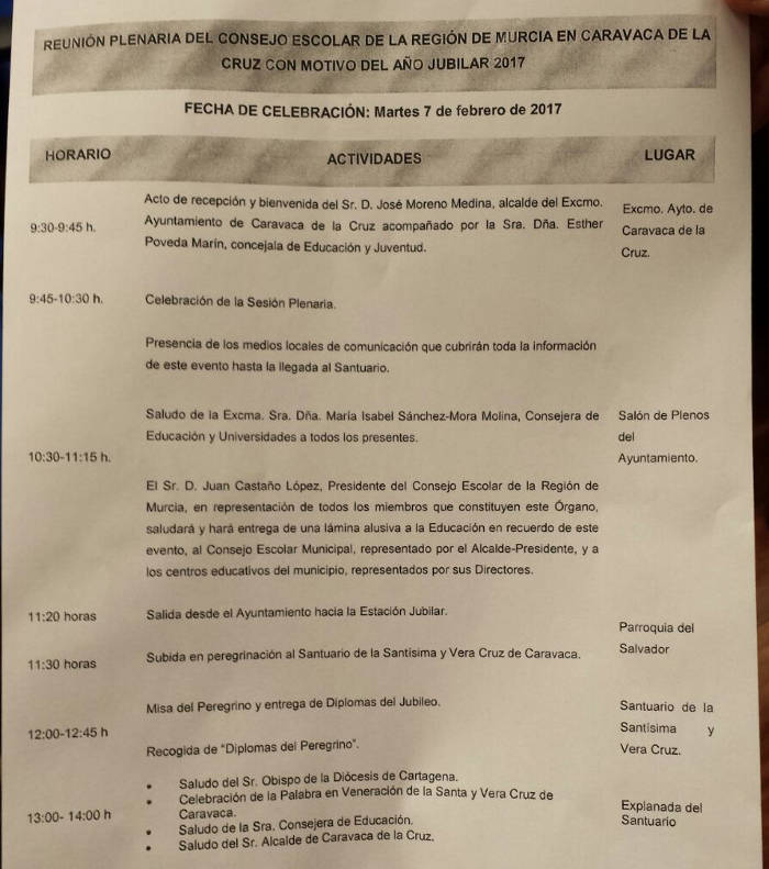Consejo escolar Murcia peregrina a Caravaca 2017