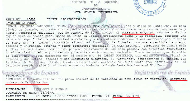 Inmatricualcion Santa Ana Granada 1991