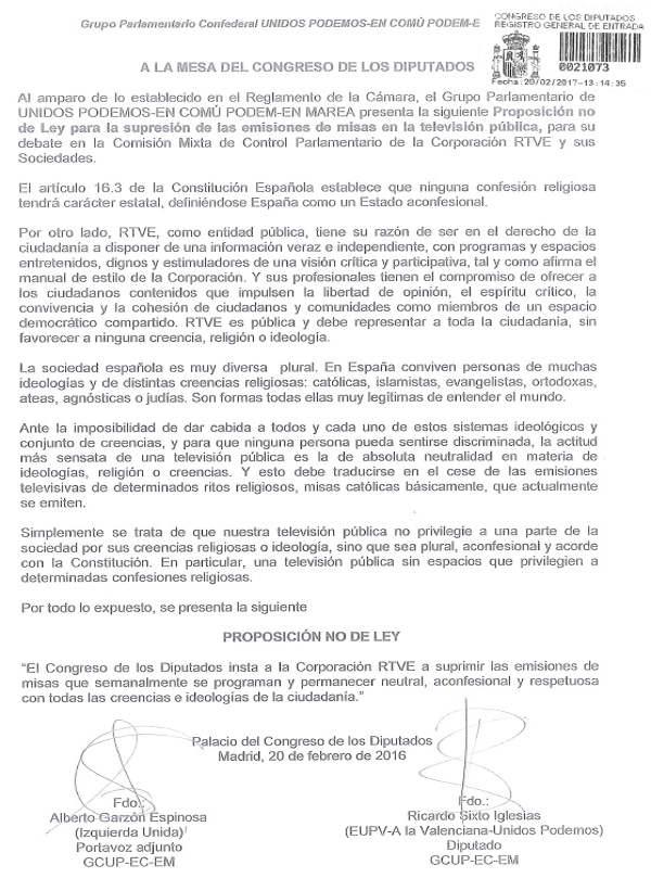 PNL Unidos Podemos suprimir misas RTVE 2017