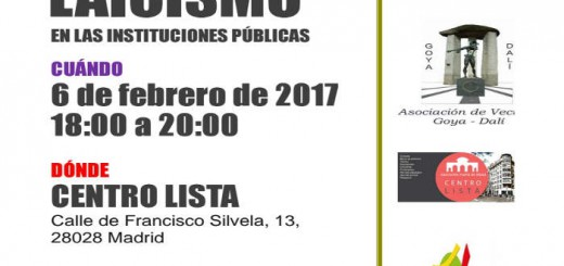 cartel charla laicismo Madrid 2017