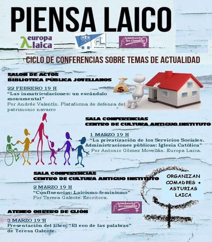 cartel ciclo piensa Laico Asturias Laica 2017