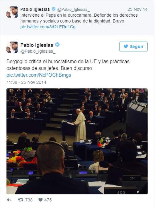 Pablo Iglesias y Bergoglio Parlamento Europeo 2014