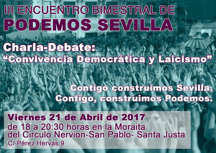 cartel charla laicismo Podemos Sevilla 2017