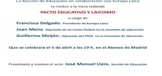 charla Pacto educativo y laicismo Ateneo Madrid 2017