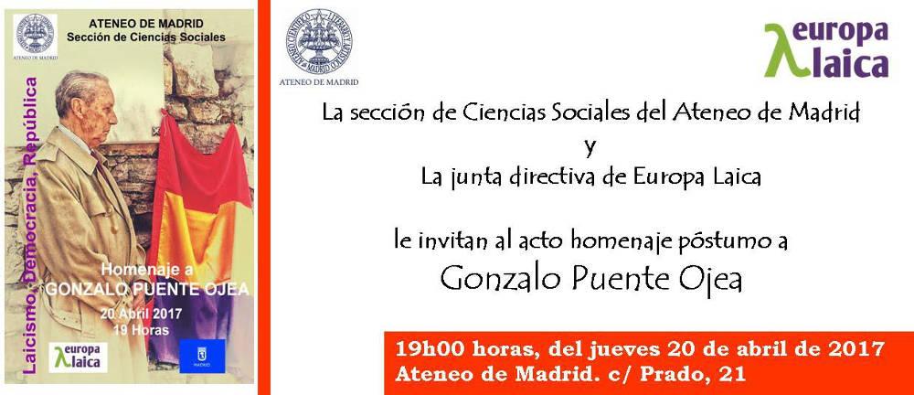 invitacion homenaje Gonzalo Puente Ojea Marid 2017