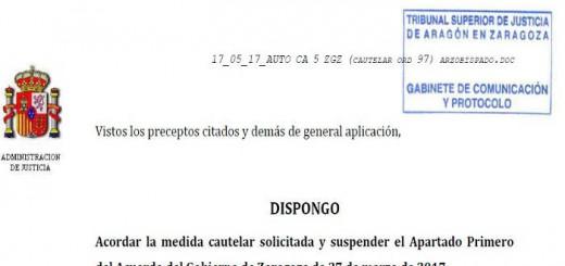 Auto suspende acuerdo inmatriculaciones Zaragoza 2017