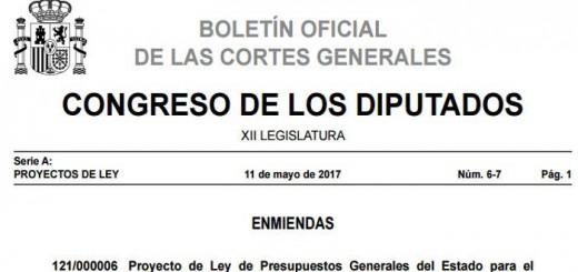 Enmiendas presupuestos Boletin Congreso 2017