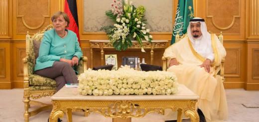 Merkel sin velo con el rey de Arabia 2017