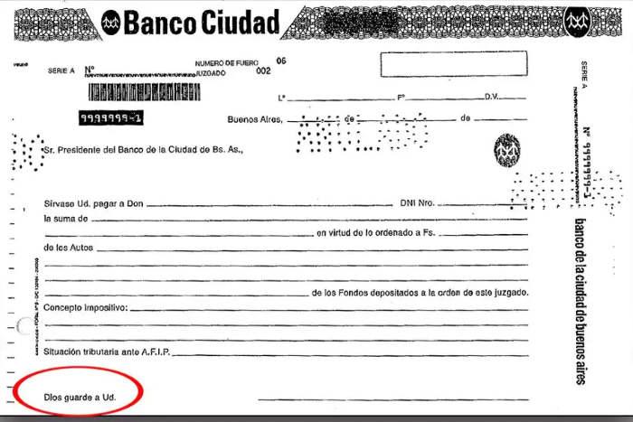 cheque Banco Ciudad Argentina con cita religiosa Dios guarde a usted 2017