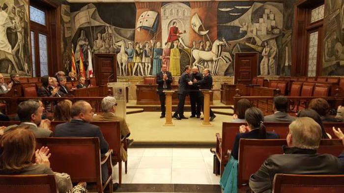 El presidente de la DPZ, durante la firma del nuevo convenio de restauración de iglesias y de arte sacro