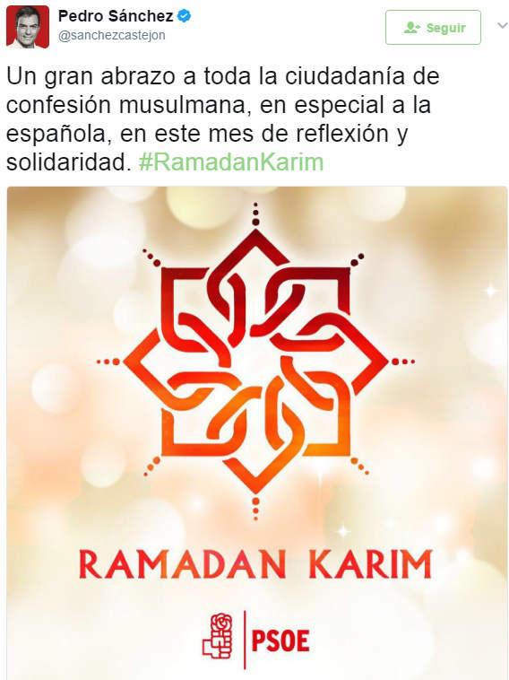 felicitacion Pedro Sanchez PSOE Ramadan 2017