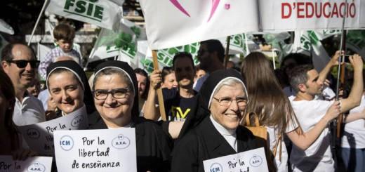 Manifestación del pasado sábado en defensa de la enseñanza concertada en Valencia. (EFE)