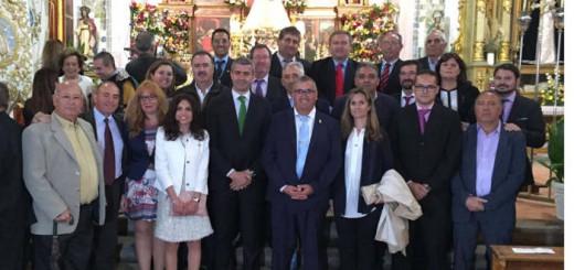 Presidente de la Diputación de Toledo y alcaldes en la misa de la Virgen de los Dados en Maqueda 2017