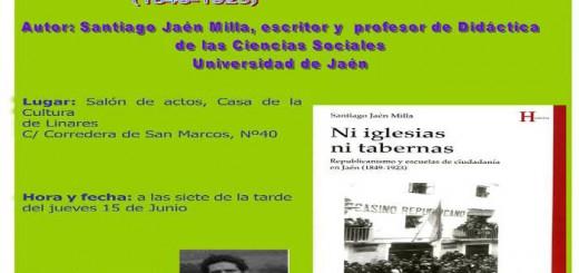 cartel presentacion libro ni iglesias ni tabernas en Linares 2017