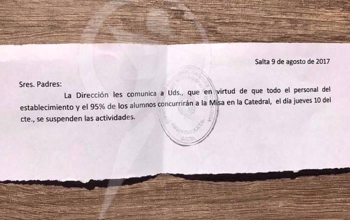 comunicacion misa escolar Argentina 2017