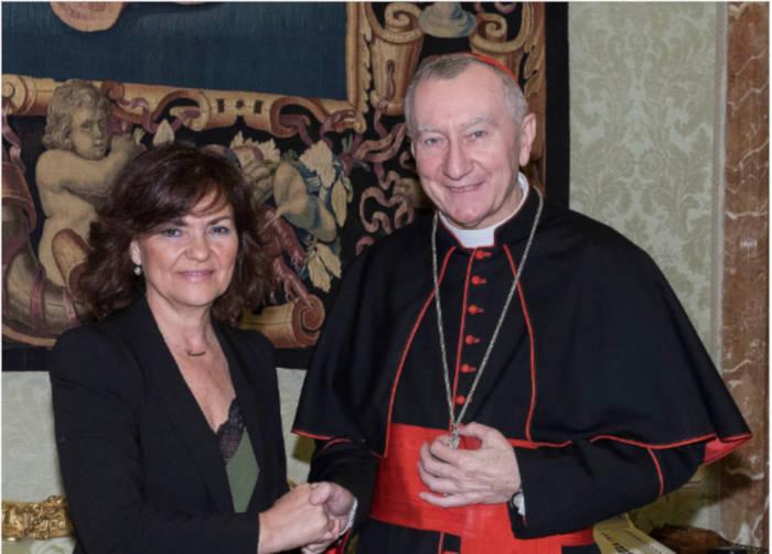 Carmen Calvo, con Pietro Parolin